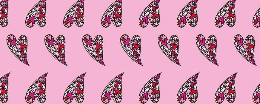 Modarium afbeelding van een dessin in half verzet baksteen met een illustratie van geroteerde harten